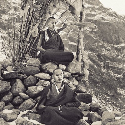 Lama Zopa Rinpoche (top) and Lama Yeshe meditating. Photo from the first trek to Lawudo Retreat Center in Nepal, spring of 1969. Lawudo was the hermitage of the Lawudo Lama, the former incarnation of Lama Zopa Rinpoche. Photos by George Luneau.