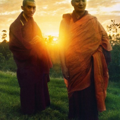 Lama Zopa Rinpoche and Lama Yeshe, Chenrezig Institute, Australia, 1975. Photo by Nick Ribush, restoration by David Zinn. Archival portrait available through Heart of the Moon Media (www.heartofthemoon.com).