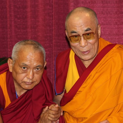 Lama Zopa Rinpoche with His Holiness the Dalai Lama at Deer Park, August 2008