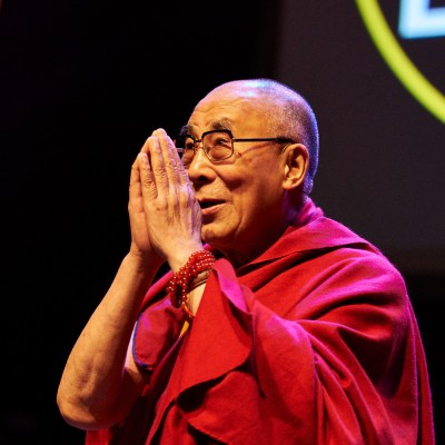 HH Dalai Lama Before conference on the theme of how to live compassion in our daily life.  Photographer: Olivier Adam, who kindly gave his permission for their use by FPMT centers, projects and services.