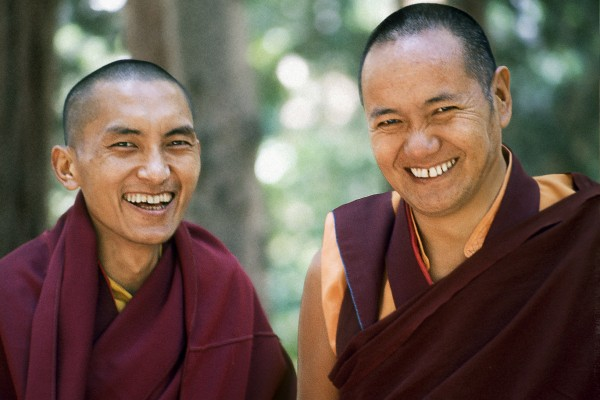 Lama Zopa Rinpoche and Lama Yeshe, Lake Arrowhead, 1975. This photo is from a three week retreat the lamas taught at Camp Arrowpines on Lake Arrowhead, east of Los Angeles, USA, 1975. Photo by Carol Royce-Wilder.
